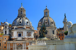 Trajan's Column and Santa Maria di Loreto church royalty free stock image