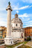 Trajan's Column And Santa Maria di Loreto Church Royalty Free Stock Photos