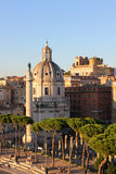 Trajan's Column and Santa Maria di Loreto, Rome. This Church is situated in the centre of Rome,Italy Royalty Free Stock Images