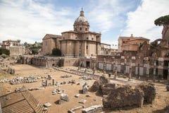 Trajan s Forum and Church of Santa Maria di Loreto, Rome Stock Image