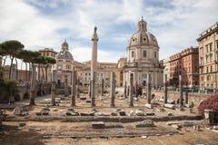 Trajan s Forum and Church of Santa Maria di Loreto, Rome Royalty Free Stock Photography
