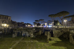Trajan's Forum (Foro Di Traiano) at night Stock Photos