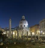 Trajan's Forum (Foro Di Traiano) and Trajan's Column at night Stock Photos