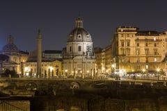 Trajan's Forum (Foro Di Traiano) and Trajan's Column at night Royalty Free Stock Photos