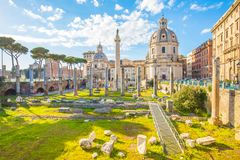 Trajan`s Forum landmark of Rome, Italy Royalty Free Stock Images
