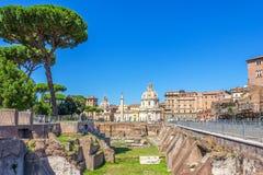 Trajan`s Forum Ruins, Trajan Column, Santa Maria di Loreto Church and Basilica Ulpia royalty free stock images