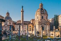 Trajan`s Forum at sunrise in Rome, Italy near the Roman Forum royalty free stock image