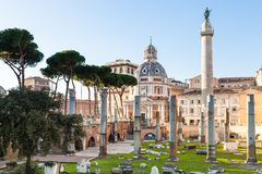 Trajan`s Forum, Trajan Column in roman forums Stock Photos