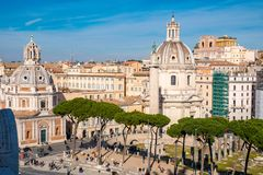 Trajan`s Forum and the Trajans Column as seen from above stock photo