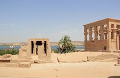 Trajan's Kiosk of Philae. The Philae Temple, on Agilkia Island. Philae is an island in Lake Nasser, Egypt. It was formerly an island in the First Cataract of Stock Image