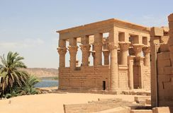 Trajan's Kiosk of Philae. The Philae Temple, on Agilkia Island. Philae is an island in Lake Nasser, Egypt. It was formerly an island in the First Cataract of Royalty Free Stock Photo