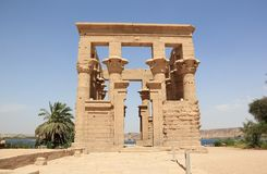 Trajan's Kiosk of Philae. The Philae Temple, on Agilkia Island. Philae is an island in Lake Nasser, Egypt. It was formerly an island in the First Cataract of Stock Photo