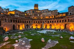 Trajan's Market, in the night stock photos