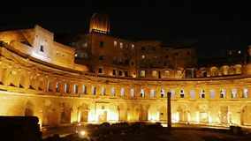 Trajan's market, Night. Roma, Italy stock footage