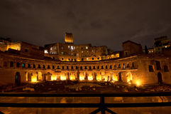 Trajan's Market, part of the Trajan's Forum, by night, Rome, Italy Stock Photo