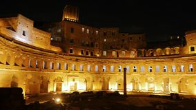 Trajan's market, Trajan Forum, Night. Roma, Italy stock video footage