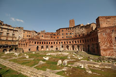 Trajan's Market. What is left from the Trajan's Market. Well preserved orange brick structure situated in the Via dei Fori Imperiali. Visited in a very sunny Stock Images