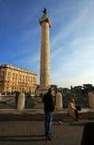 Trajan-` s Spalte in Rom, Italien Stockfoto