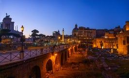 Trajans Column and Basilica Ulpia in Rome, Italy Royalty Free Stock Photo