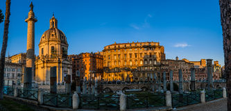 Trajans Column and Basilica Ulpia in Rome, Italy Royalty Free Stock Photo