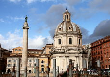 Trajans Column and Church S.Maria di Loreto Royalty Free Stock Images