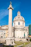 Trajans Column and Forum in Rome, Italy stock image