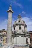Trajans Column in Rome. Trajan's Column is a Roman triumphal column in Rome, Italy, that commemorates Roman emperor Trajan's victory in the Dacian Wars Stock Photos