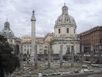 Trajans Column and Santa Maria di Loreto Royalty Free Stock Photography