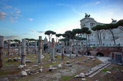 Trajan Forum and the Altare della Patria - landmark attraction in Rome, Italy Stock Photography