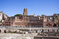 Trajans marknad på Forien Imperiali i Rome, Italien Arkivbilder