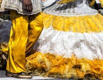 Traje amarelo bonito do carnaval com plumagem fotografia de stock