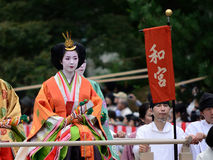Traje auténtico en el desfile de Jidai Matsuri, Japón del kimono imágenes de archivo libres de regalías