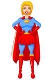 Traje azul rojo del carácter de la mujer del super héroe de la historieta de la etiqueta engomada Foto de archivo libre de regalías