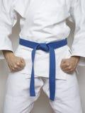Traje blanco azul de los artes marciales de la correa del combatiente derecho Fotografía de archivo