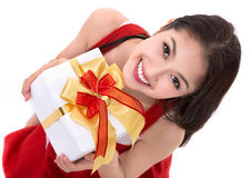 Traje bonito de Papai Noel do desgaste de mulher de Ásia Imagem de Stock