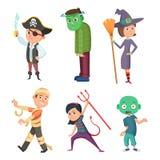 Traje bonito e assustador dos desenhos animados do Dia das Bruxas para crianças Zombi, pirata, diabo e outro ilustração do vetor
