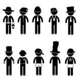 Traje básico da roupa do sinal do ícone dos povos da postura do homem Imagens de Stock Royalty Free