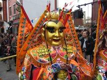 Traje chino del Año Nuevo del oro bonito Fotografía de archivo