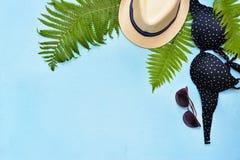 Traje de baño del bikini del verano y collage femeninos de los accesorios en azul con las ramas, el sombrero y las gafas de sol d fotos de archivo