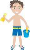 Traje de baño trigueno del muchacho Foto de archivo