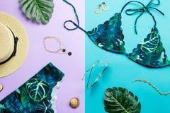 Traje de baño tropical del bikini, moda de la playa Endecha plana de los accesorios de la mujer del viajero con el traje de baño, foto de archivo