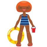 Traje de baño vestido niña divertida Imagen de archivo libre de regalías
