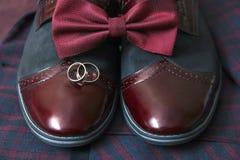 Traje de Borgoña de los hombres, corbata de lazo y zapatos de cuero del vintage en fondo del tweed de la materia textil Fotos de archivo libres de regalías