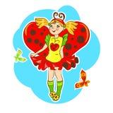 Traje de la mariquita de la muchacha que lleva Imagen de archivo libre de regalías