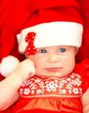 Traje de la Navidad del bebé que lleva recién nacido Imágenes de archivo libres de regalías