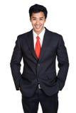 Traje de la sonrisa del hombre de negocios aislado Fotografía de archivo