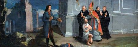 Traje de las devoluciones de St Francis a su padre Imágenes de archivo libres de regalías