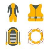 Traje de salto, chaleco salvavidas, balsa, iconos planos del salvavidas Equ del turismo Fotos de archivo