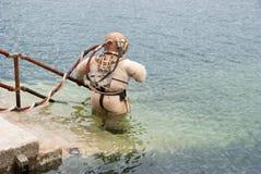 Traje de salto de cobre Foto de archivo libre de regalías