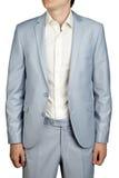 Traje de vestido para hombre del baile de fin de curso, chaqueta en colores pastel azul clara y pantalones imagen de archivo libre de regalías